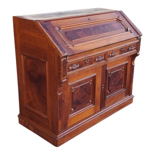 Antique 19th Century Burl Walnut & Inlaid Victorian Slant Top Desk C1880. For Sale