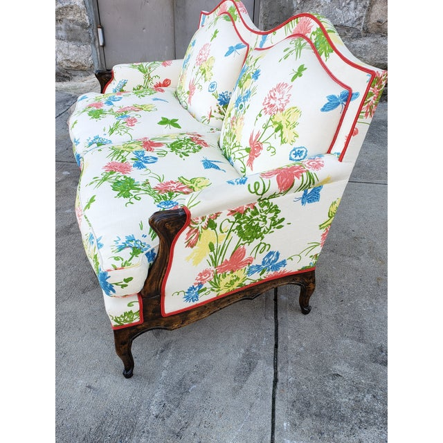 Wood Vintage Louis XV Style Floral Upholstery Settee For Sale - Image 7 of 13
