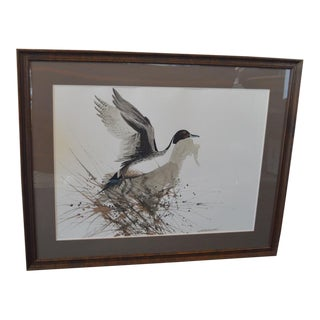 Original Framed Watercolor by Michigan Wildlife Artist Bruce Matteson For Sale