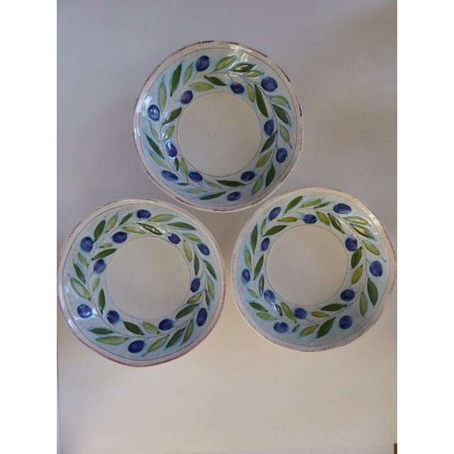 Absolutely Gorgeous, Beautifully Handmade and Painted, Glowing Glaze with Rustic Color Trim on Rims. 3 Large Serving Bowls...