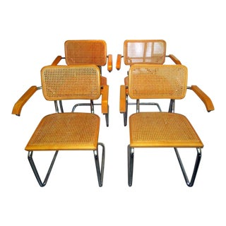 Modern Marcel Breuer Cane Cesca Italian Arm Chairs- Set of 4 For Sale