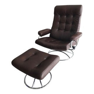 Vintage Ekornes Chair and Ottoman For Sale