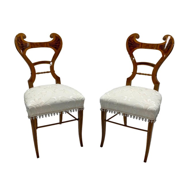 Brown Early 19th Century Neoclassical Biedermeier Side Chairs - a Pair For Sale - Image 8 of 8