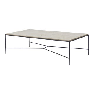 Paul McCobb Pavillion Collection Iron and Travertine cocktail table