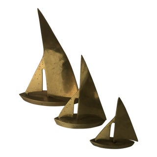 Brass Sailboats by Dolbi Cashier - Set of 3 For Sale