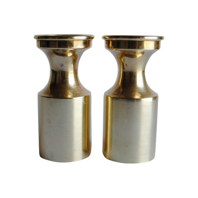 Mid Century Brass Candle Holders - a Pair - Image 1 of 4