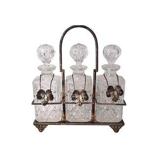 Vintage Silver Crystal Liquor Bar Bottle Set Silver Labels For Sale
