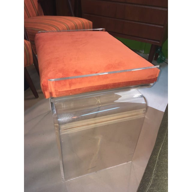Mid-Century Modern Lucite Cushion Top Ottoman/Seat For Sale - Image 3 of 4