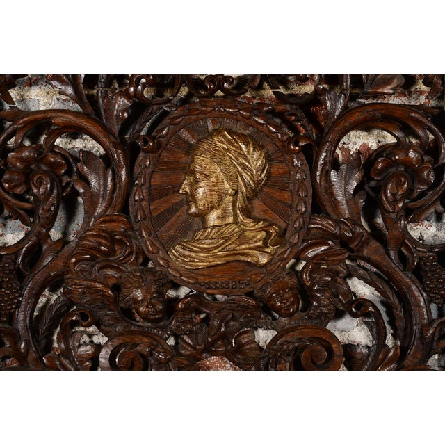 Mediterranean Antique Rococo Carved Wood Wall Panel For Sale - Image 3 of 11