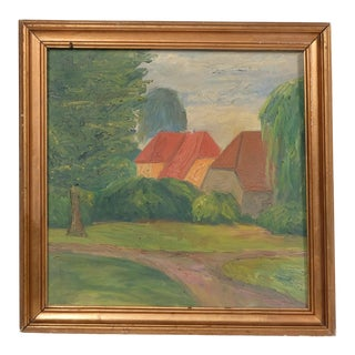Mid-C. Impressionist House Landscape For Sale