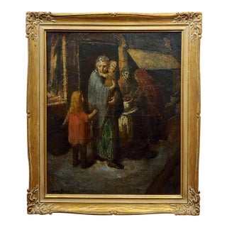 Claude Buck 1940s Stranded Family With Children Regionalist Oil Painting For Sale