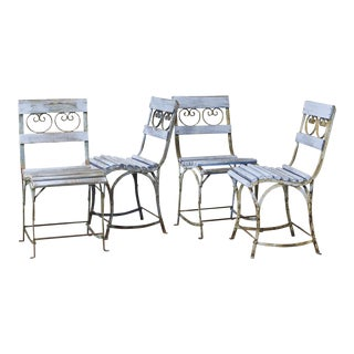 Set of Four French Wrought Iron Garden Chairs With Blue Wooden Slats For Sale