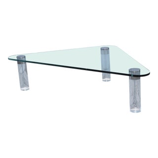 1970s Pace Collection Custom Order Triangular Lucite Coffee Table For Sale