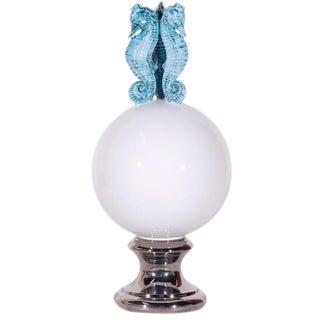 Italian White Ceramic Globe With Turquoise Sea Horse Design For Sale