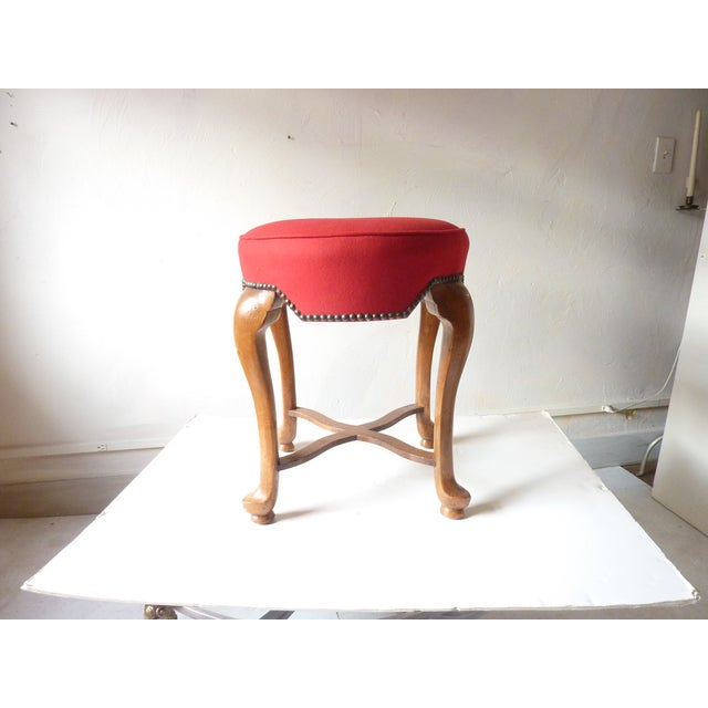 Mediterranean Yale Burge Red Upholstered Low Stool For Sale - Image 3 of 6