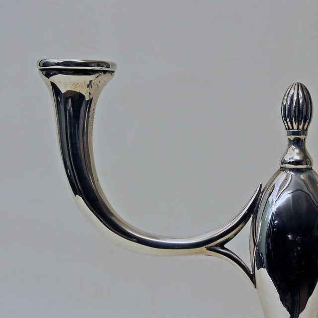 1934-40 Pair of Art Deco Silver Candelabras, 2-Arms - Spain, Barcelona For Sale - Image 6 of 10