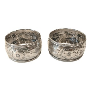 Antique Repousse Victorian Sterling Silver Napkin Rings - a Pair For Sale