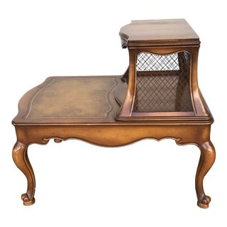 Vintage Heirloom Leather Top 2 Tier Table With Screen Sides For Sale