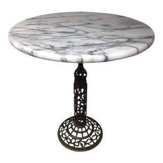 Vintage Marble and Brass Filigree Accent Table For Sale