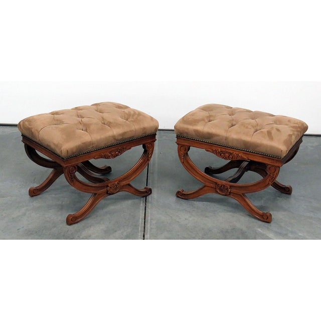 Regency Style X Benches - a Pair For Sale - Image 11 of 11