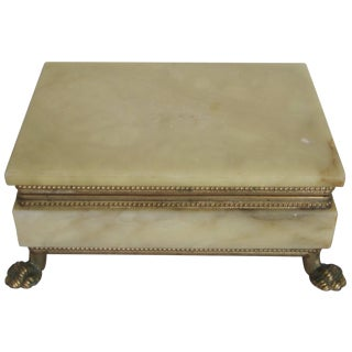 Italian Alabaster and Brass Box For Sale