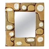 Image of French Ceramic Gold Crackle Glazed and Crystalline Mirror by Francois Lembo For Sale