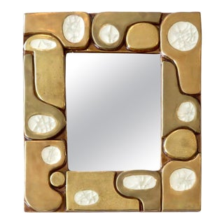 French Ceramic Gold Crackle Glazed and Crystalline Mirror by Francois Lembo For Sale