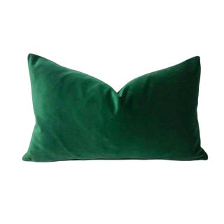 Kravet Versailles Velvet Emerald Green Lumbar Pillow Cover For Sale