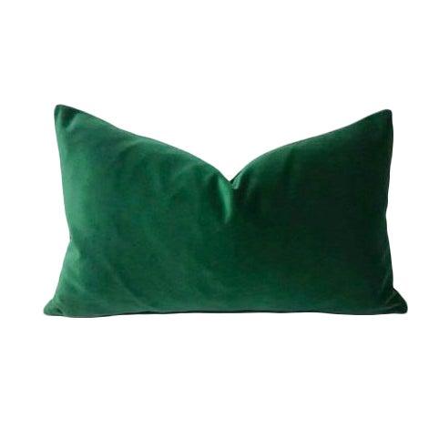 Kravet Versailles Velvet Emerald Green Lumbar Pillow Cover For Sale