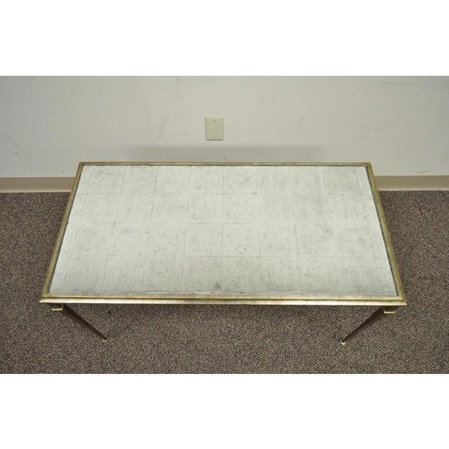 Neoclassical Style Gilt Metal Silver Leaf Mirror Top Coffee Table - Image 4 of 11