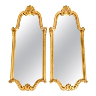 Antique Giltwood Frame Hanging Wall Mirror - a Pair For Sale