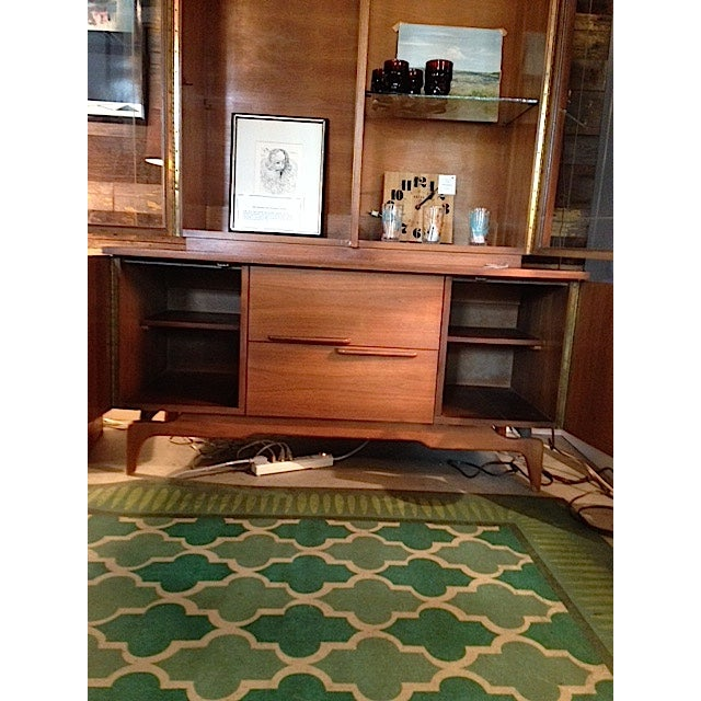 Mid-Century Etched Doors Teak Hutch Cabinet - Image 9 of 10