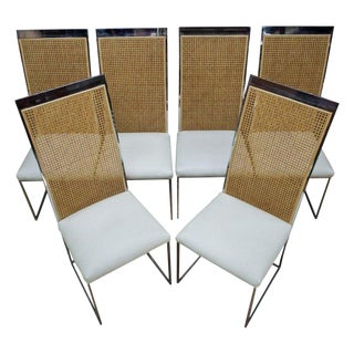 Six 1970s Milo Baughman High Back Cane Chrome Dining Chairs Postmodern Vintage For Sale