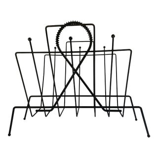 Vintage Mid-Century Wire Magazine Stand For Sale