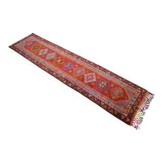 Kurdish Hand Knotted Runner Full Tribal Design Low Pile Rug Hallway Decor - 2′9″ × 11′4″ For Sale