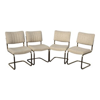 Set of Four Mid Century Modern Off White Twead & Gold Chromcraft Dining Chairs For Sale