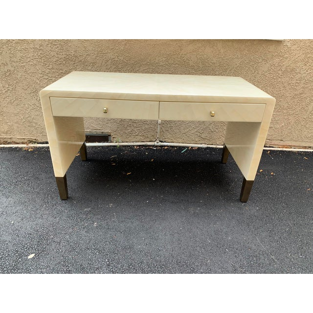 Ivory Faux Horn Ivory Writing Desk From Made Goods For Sale - Image 8 of 9