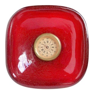 Seguso Vetri d'Arte Murano Red Gold Flecks Italian Art Deco Glass Desk Clock For Sale