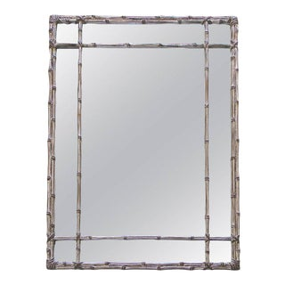Large Italian Carved Silver Gilt Faux Bamboo Wall Mirror