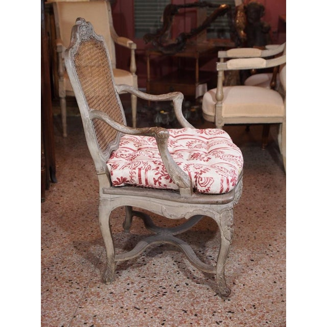 French 18th Century Painted Regence Chair For Sale - Image 3 of 8