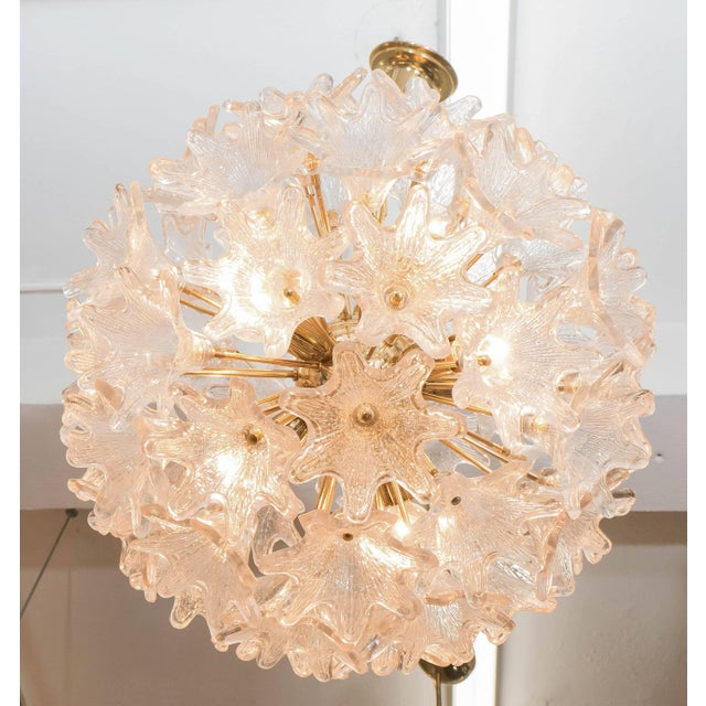 Mid 20th Century Italian Sputnik Chandelier with Murano Glass Flowers For Sale - Image 5 of 7