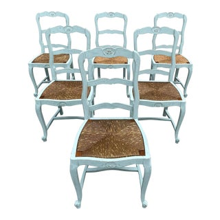 1910s Fine Vintage French Country Provencal Painted Rush Seat Dining Chairs - Set of 6 For Sale