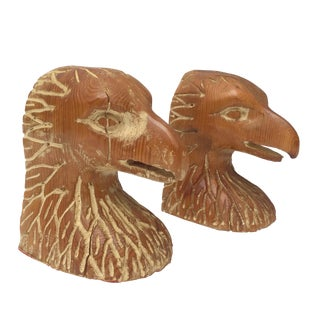 Pair of Serreid Ltd. Italy Carved Wood Bird Head Bookends For Sale