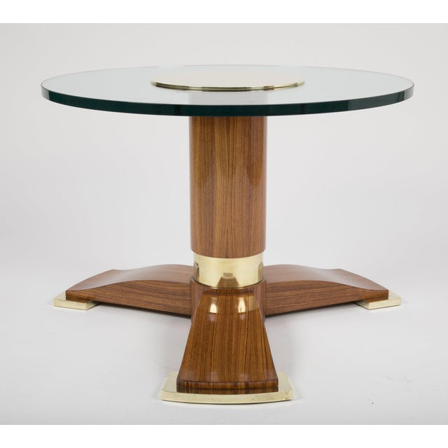Mid 20th Century Jules Leleu Mahogany, Bronze and Glass Coffee Table For Sale - Image 5 of 13
