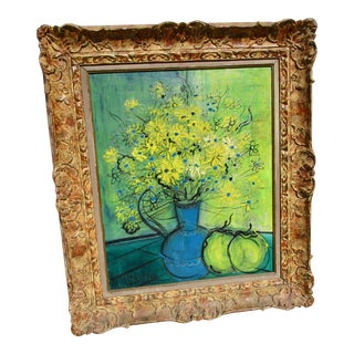 Still Life Flowers on Table Painting by Michel-Marie Poulain For Sale