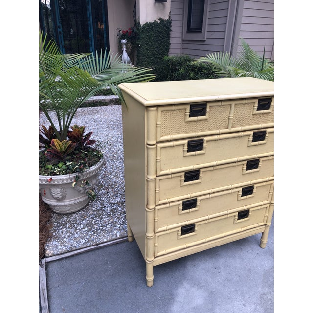Faux Bamboo Stanley Yellow Faux Bamboo Dresser For Sale - Image 7 of 13
