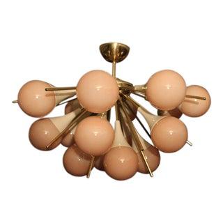 Half Sputnik Chandelier in Light Pink-Beige Murano Glass and Brass For Sale