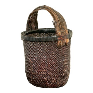 Antique Hand Woven Chinese Rice Gathering Basket For Sale