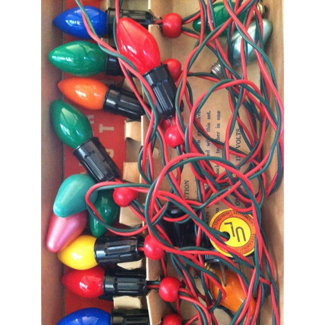 vintage noma christmas lights in original box circa 1950s set of 15 colorful bulbs