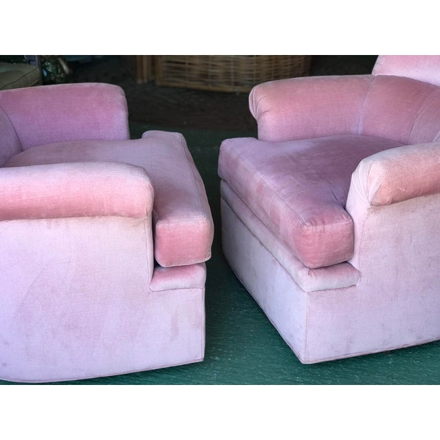 Highland House Hollywood Regency Pink Pair Chairs & Ottoman For Sale - Image 9 of 13